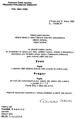 Listina udělení znaku apraporu obci Tvarožná parlamentem ČR.